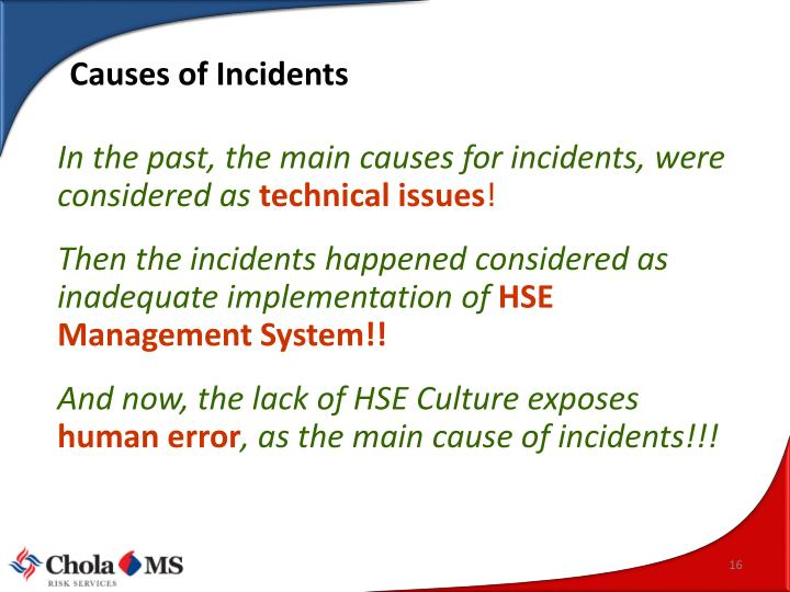 Causes of Incidents