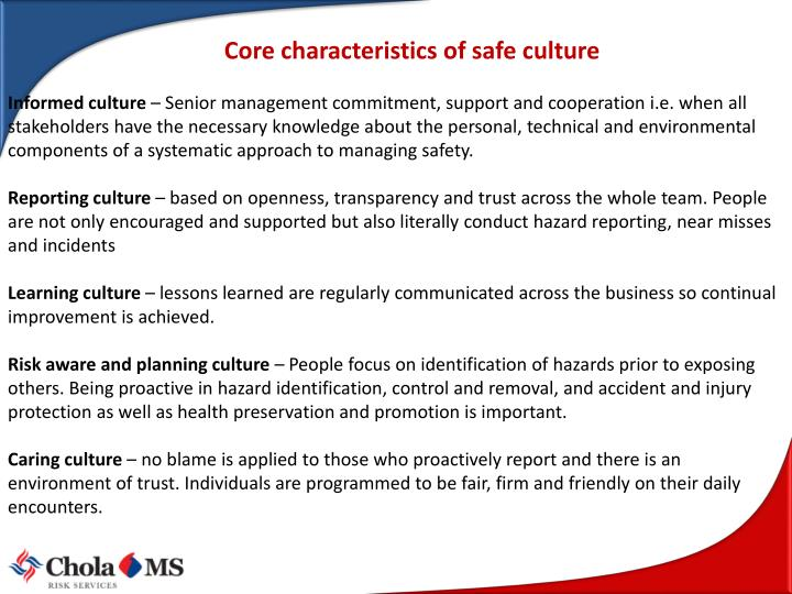 Core characteristics of safe culture