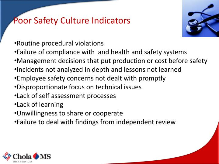 Poor Safety Culture Indicators