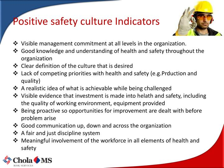 Positive safety culture Indicators