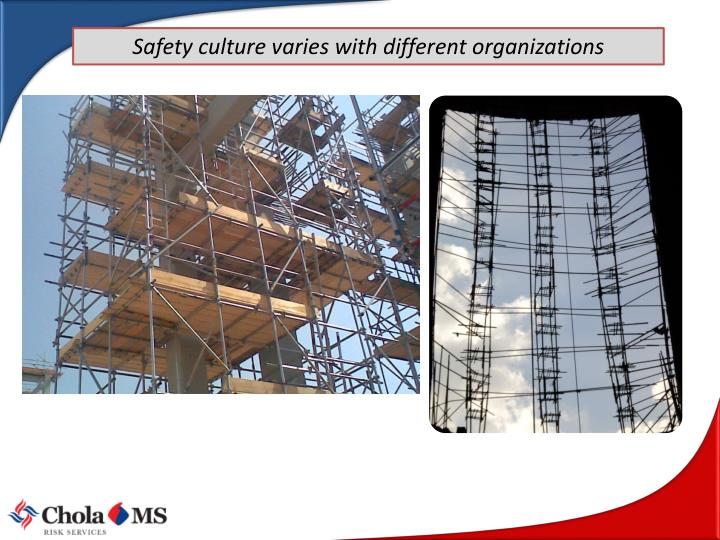 Safety culture varies with different organizations
