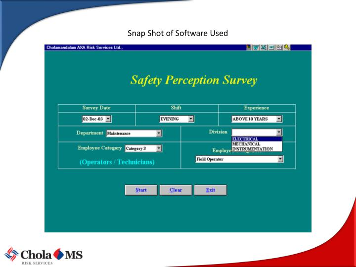 Snap Shot of Software Used