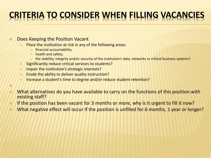 Does Keeping the Position Vacant