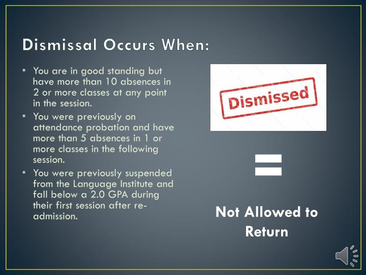 Dismissal Occurs When:
