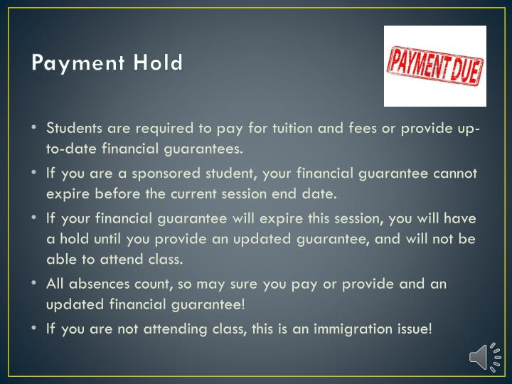 Payment Hold