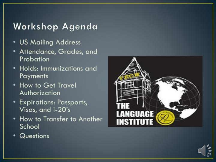 Workshop agenda