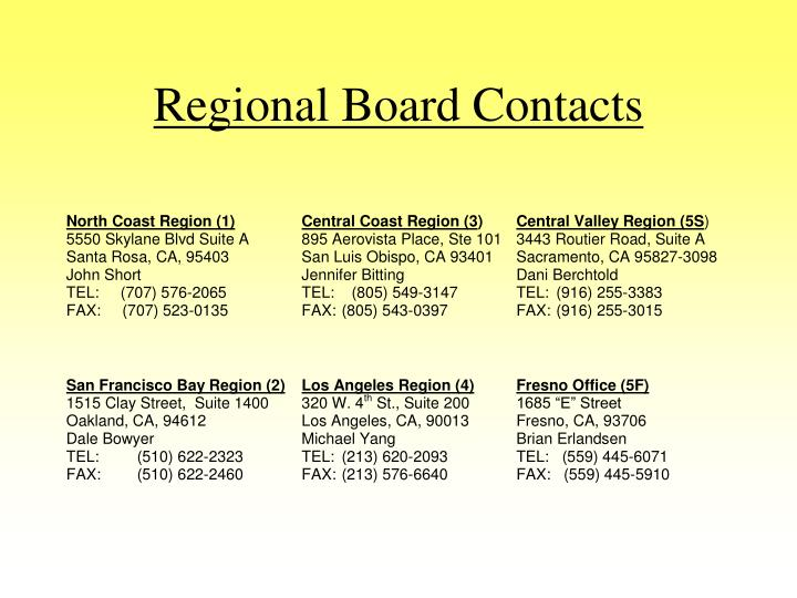 Regional Board Contacts