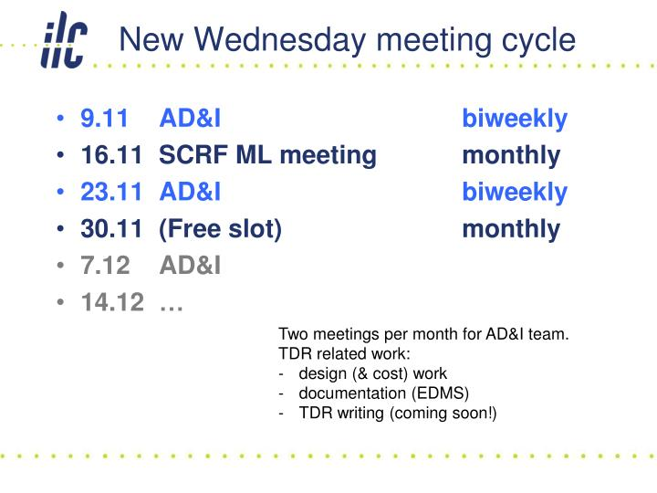 New wednesday meeting cycle