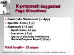 k proposal suggested page allocations