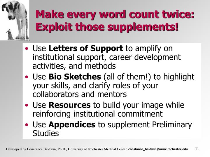 Make every word count twice: Exploit those supplements!