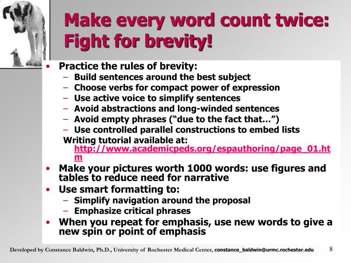 Make every word count twice: Fight for brevity!