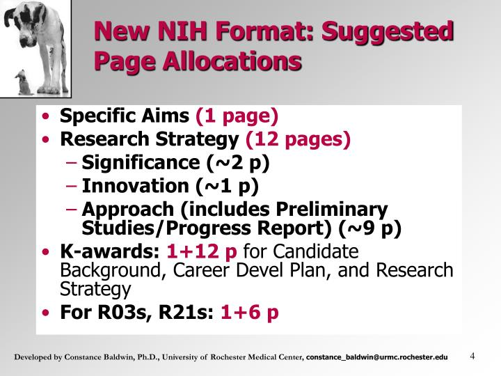 New NIH Format: Suggested Page Allocations