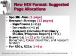 new nih format suggested page allocations