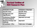 revised outline of nih research plan