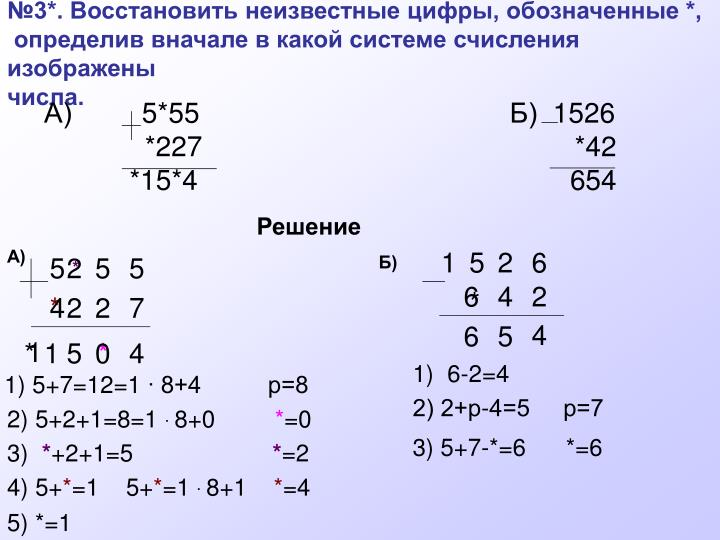 №3*. Восстановить неизвестные цифры, обозначенные *,