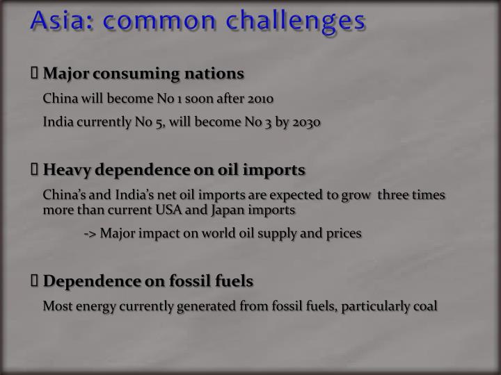 Asia: common challenges