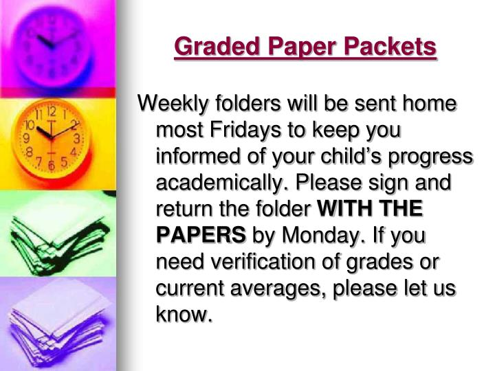 Graded Paper Packets