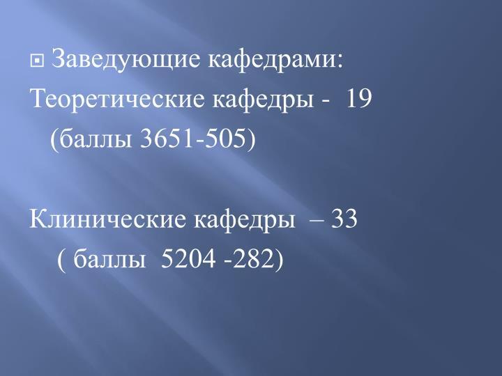 Заведующие кафедрами: