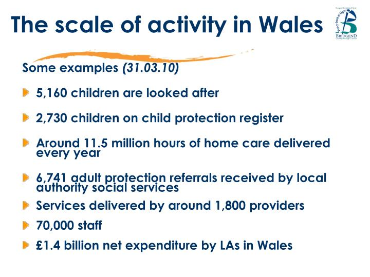 The scale of activity in Wales