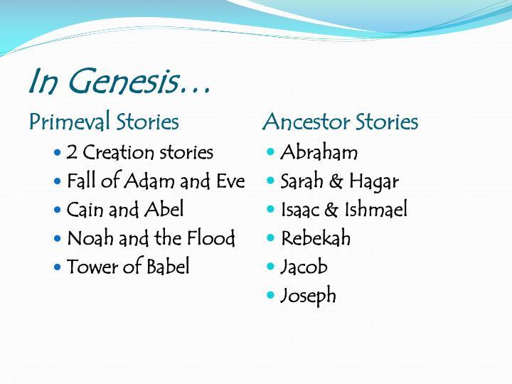 In Genesis…