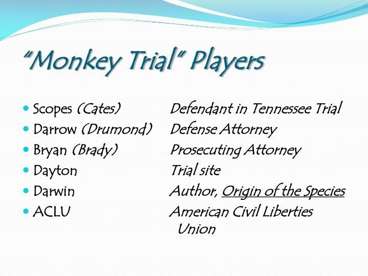 """Monkey Trial"" Players"