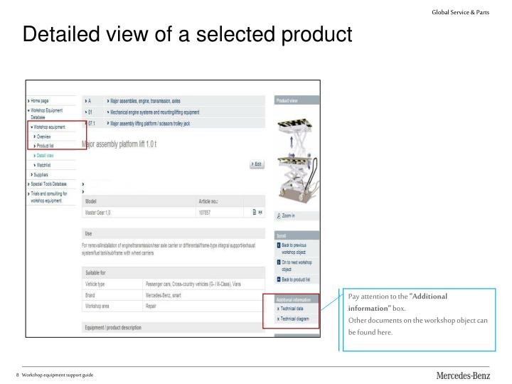 Detailed view of a selected product