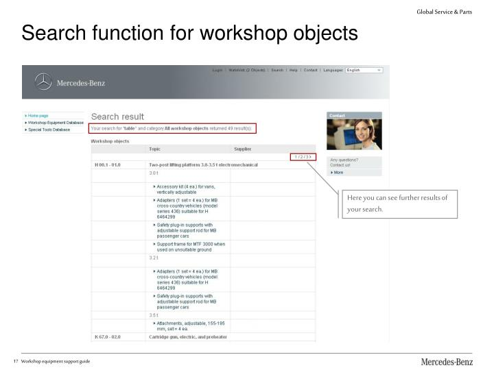 Search function for workshop objects