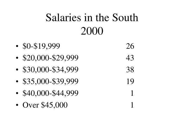 Salaries in the South