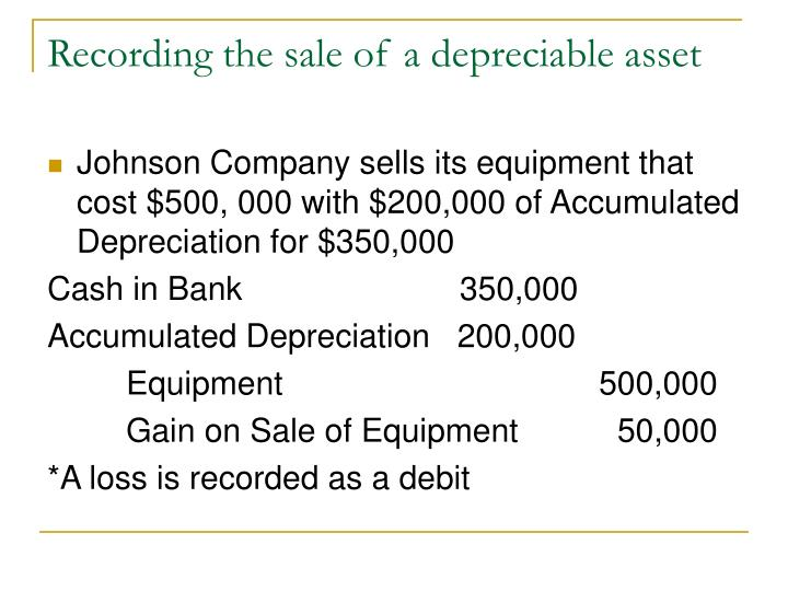 Recording the sale of a depreciable asset
