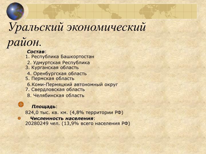 Уральский экономический район.
