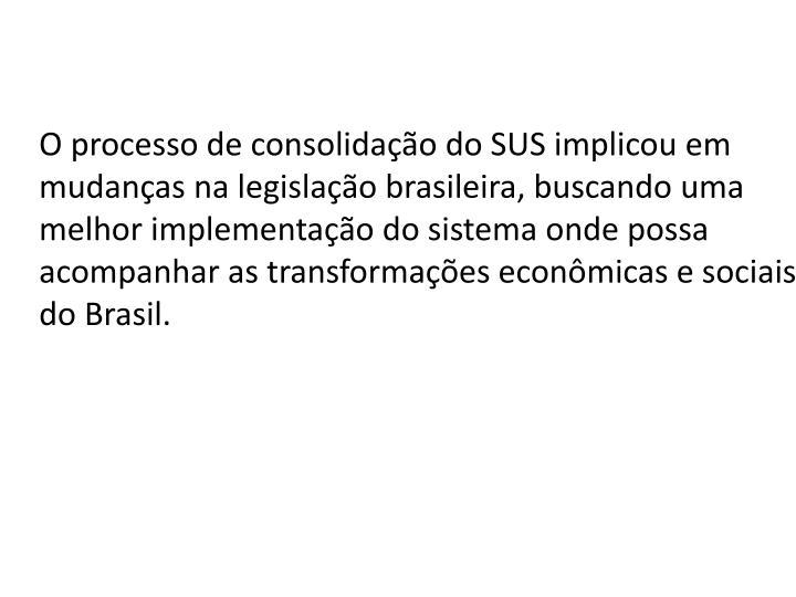 O processo de consolidao do SUS implicou em mudanas na legislao brasileira, buscando uma melhor implementao do sistema onde possa acompanhar as transformaes econmicas e sociais do Brasil.