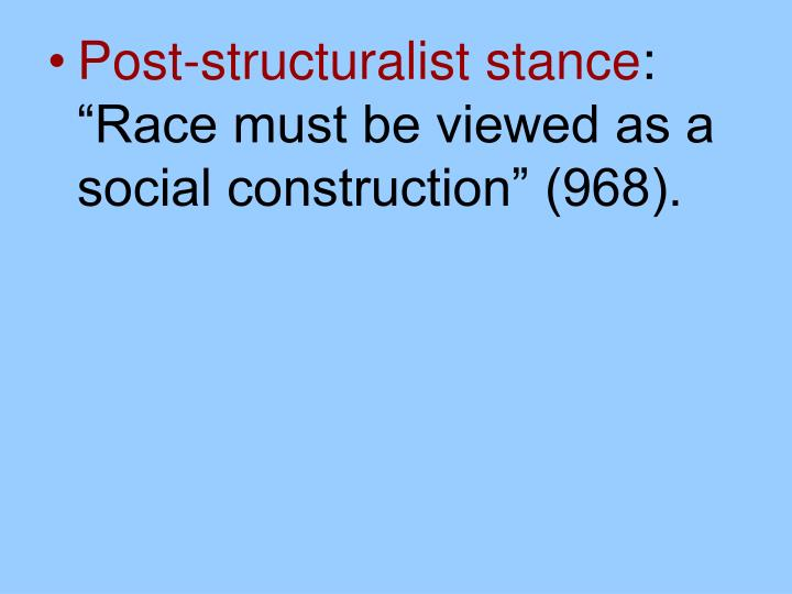 Post-structuralist stance
