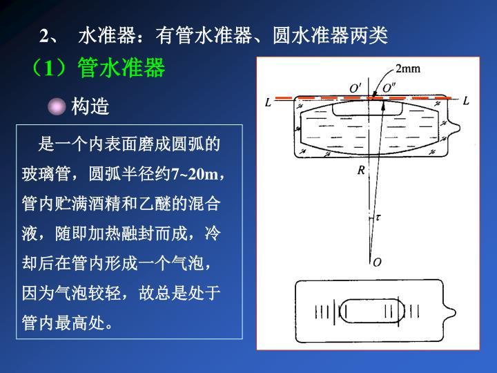 2、  水准器:有管水准器、圆水准器两类