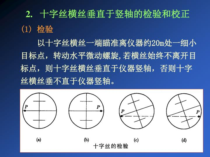 2.   十字丝横丝垂直于竖轴的检验和校正