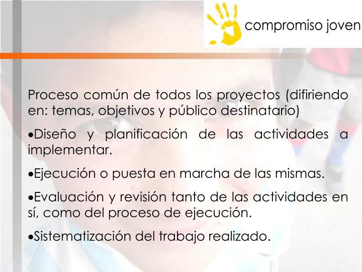 Proceso común de todos los proyectos (difiriendo en: temas, objetivos y público destinatario)