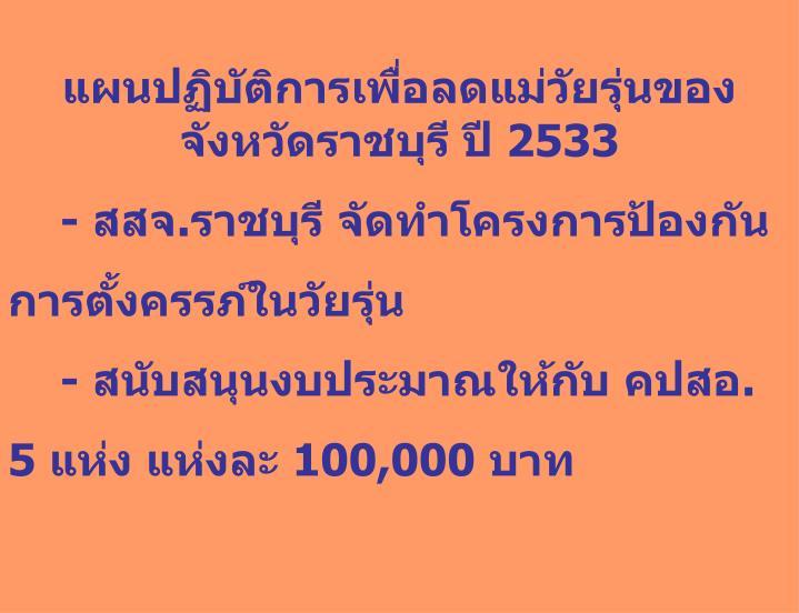แผนปฏิบัติการเพื่อลดแม่วัยรุ่นของจังหวัดราชบุรี ปี 2533