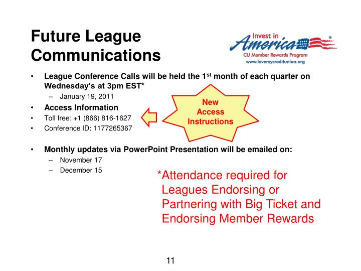 League Conference Calls will be held the 1