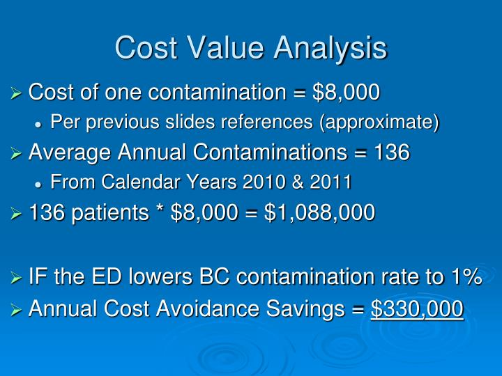 Cost Value Analysis