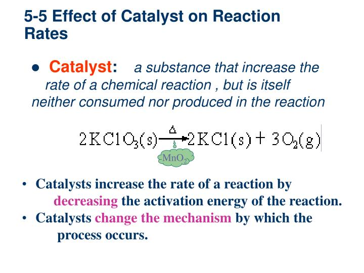 5-5 Effect of Catalyst on Reaction Rates