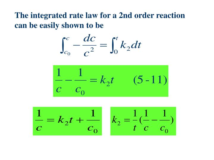 The integrated rate law for a 2nd order reaction can be easily shown to be