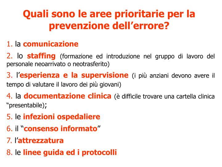 Quali sono le aree prioritarie per la prevenzione dellerrore?