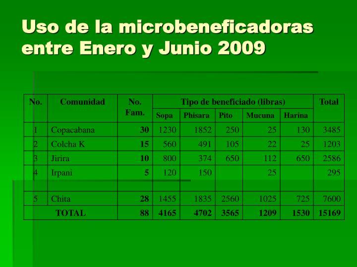 Uso de la microbeneficadoras entre Enero y Junio 2009
