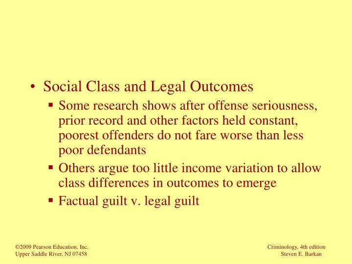 Social Class and Legal Outcomes