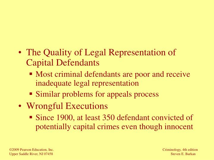 The Quality of Legal Representation of Capital Defendants