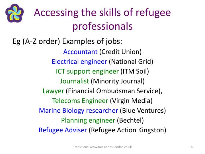 Accessing the skills of refugee professionals