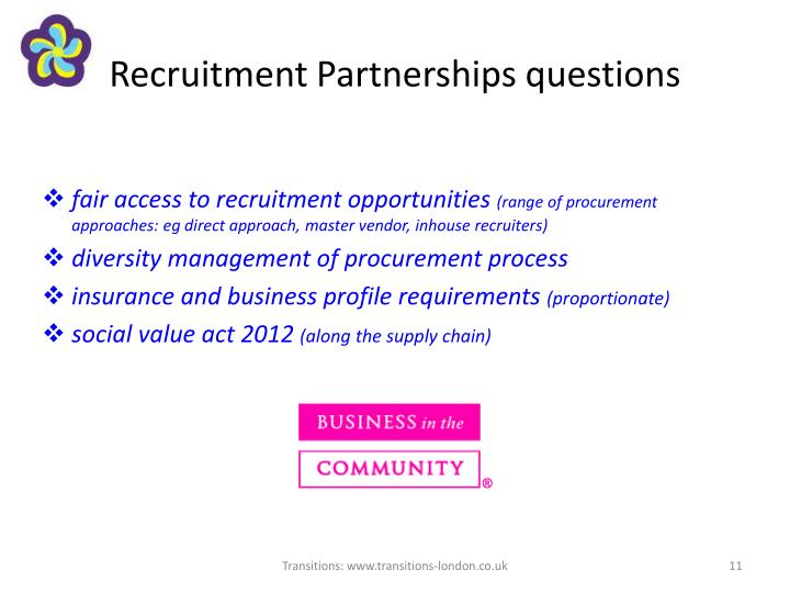 Recruitment Partnerships questions