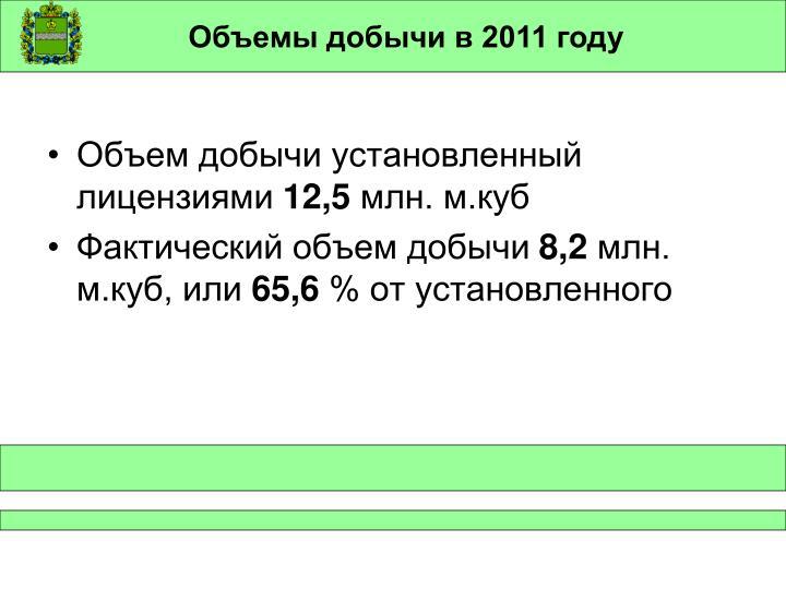 Объемы добычи в 2011 году