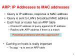 arp ip addresses to mac addresses