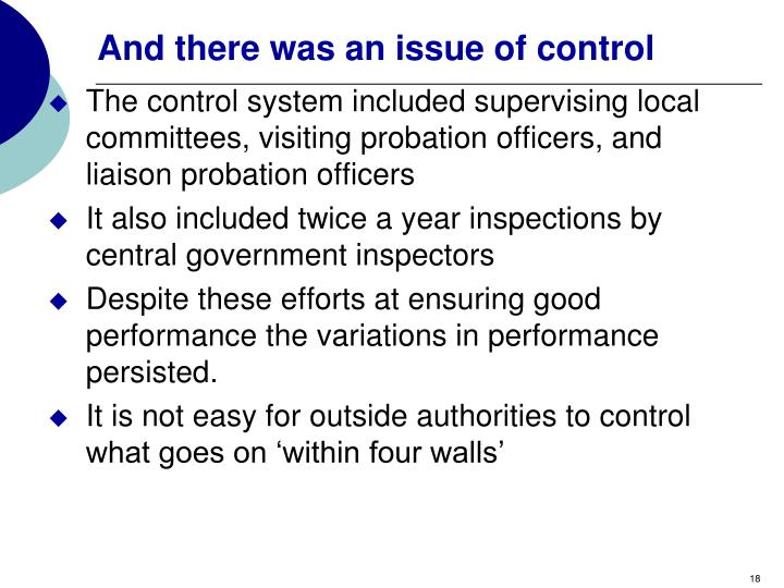 And there was an issue of control