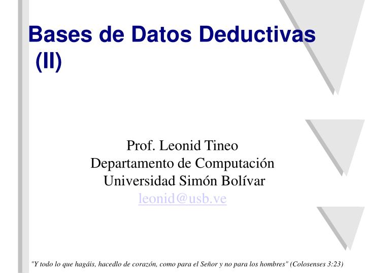 Bases de datos deductivas ii